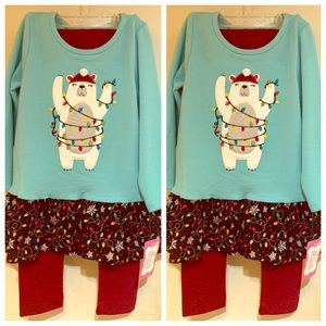 RicRac & Ruffles Girls Christmas Tunic Set (3T)